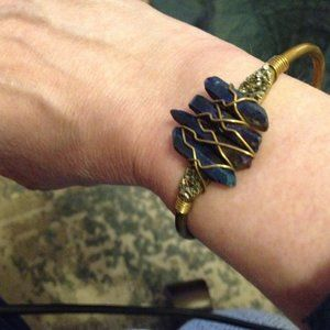 Jewelry - Wire Wrapped Blue Crystal Brass Cuff
